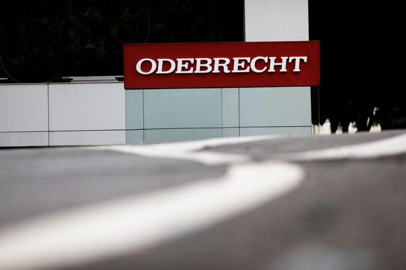 The corporate logo of the Odebrecht SA construction conglomerate is pictured at its headquarters in Sao Paulo