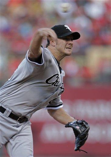 Chicago White Sox starterJake Peavy pitches during the first inning of a baseball game against the St. Louis Cardinals, Wednesday, June 13, 2012, in St. Louis.(AP Photo/Tom Gannam)
