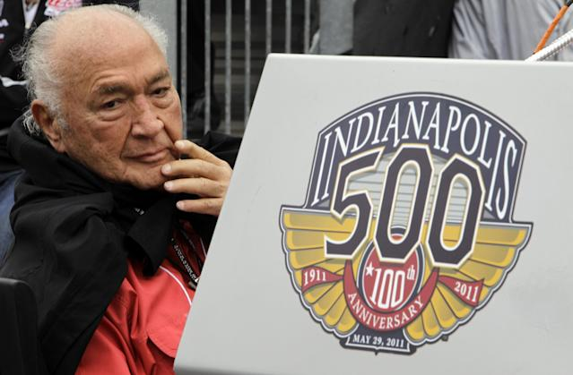 FILE - In this May 28, 2011, file photo, Indy 500 legend Andy Granatelli looks on during the drivers' meeting for the Indianapolis 500 auto race at the Indianapolis Motor Speedway in Indianapolis. Granatelli, the former CEO of STP motor oil company who made a mark on motorsports as a car owner, innovator and entrepreneur, died Sunday, Dec. 29, 2013. He was 90. (AP Photo/Paul Sancya, File)