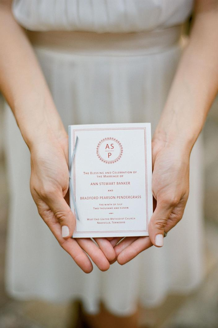 """<p>Ann Stewart's mom insisted on traditional calligraphy invitations, but the save-the-date card was more playful and featured a letterpressed map of Nashville on the back.</p> <p><strong>Love It? Get It!</strong><br><strong>Save-The-Dates & Program:</strong> Mr. Boddington's Studio, <a href=""""http://mrboddington.com/"""" rel=""""nofollow noopener"""" target=""""_blank"""" data-ylk=""""slk:mrboddington.com"""" class=""""link rapid-noclick-resp"""">mrboddington.com</a> or 212/686-5953<br><strong>I</strong><strong>nvitations:</strong> Duly Noted, <a href=""""http://dulynotedonline.com/"""" rel=""""nofollow noopener"""" target=""""_blank"""" data-ylk=""""slk:dulynotedonline.com"""" class=""""link rapid-noclick-resp"""">dulynotedonline.com</a></p>"""