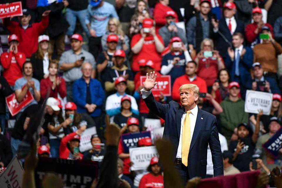 COLORADO SPRINGS, CO - FEBRUARY 20: President Donald Trump waves to supporters during a Keep America Great rally on February 20, 2020 in Colorado Springs, Colorado. Vice President Mike Pence and Sen. Cory Gardner, a first-term Republican up for reelection this year, joined Trump at the rally. (Photo by Michael Ciaglo/Getty Images)