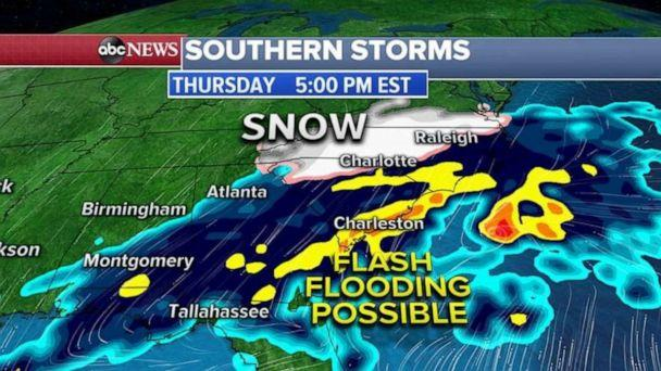 PHOTO: A Winter Storm Warning and Winter Weather Advisory has been issued from Tennessee to North Carolina, including Raleigh and Charlotte. (ABC News)