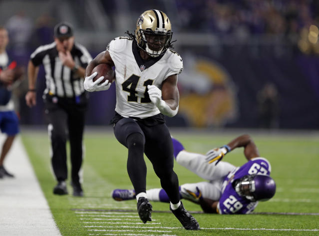 Alvin Kamara on the move. (AP Photo/Charlie Neibergall)