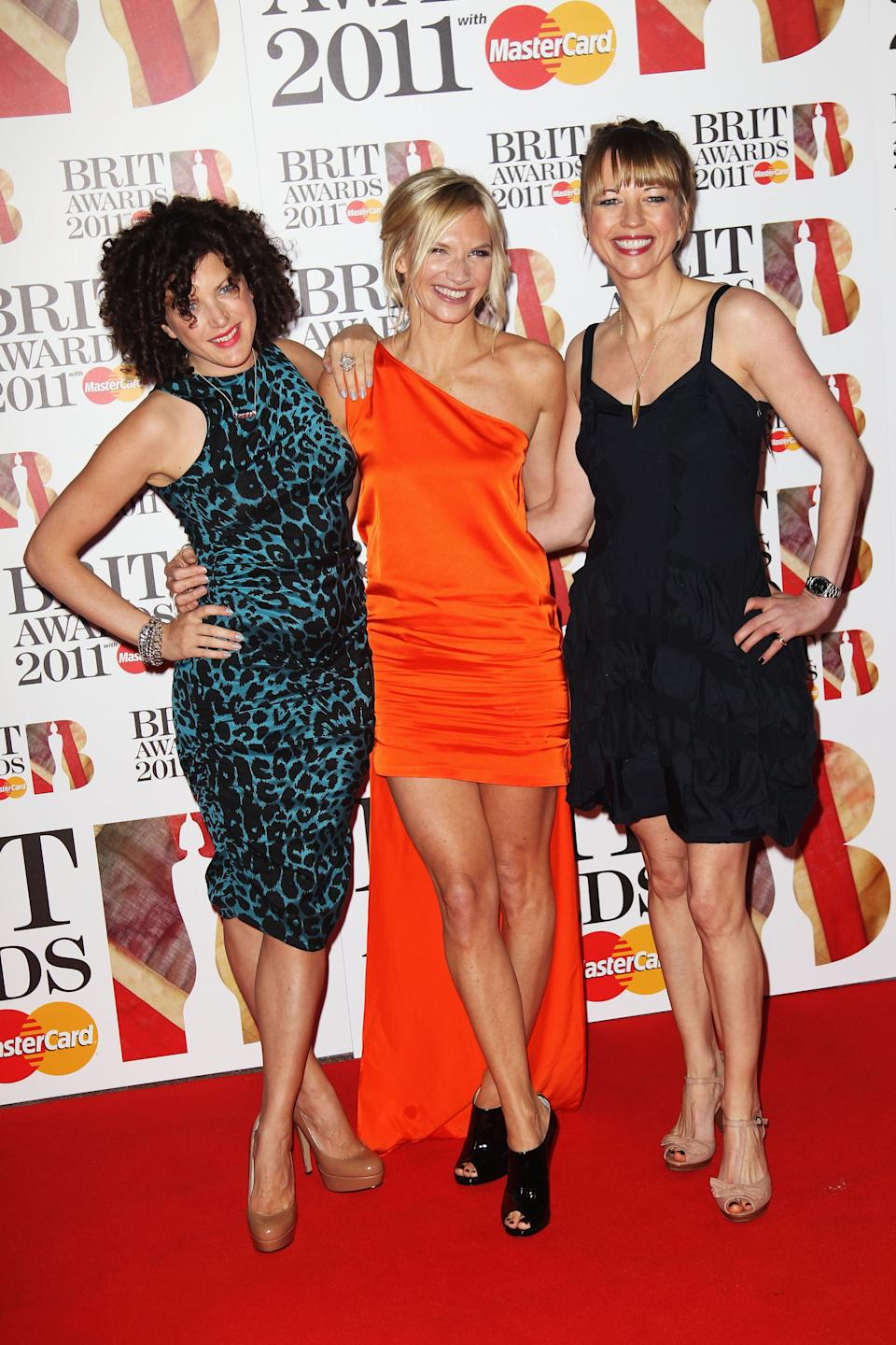 Annie Mac, Jo Whiley and Sara Cox at The Brit Awards in 2011 (Photo: Dave Hogan via Getty Images)
