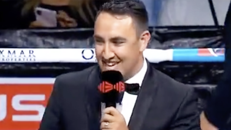 Ring announcer James O'Shea is pictured.