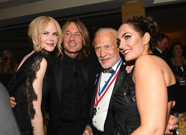 <p>Out of this world! Nicole Kidman, singer Keith Urban, and astronaut Buzz Aldrin posed for a photo at HBO's Golden Globe after-party. (Photo: Emma McIntyre/Getty Images) </p>