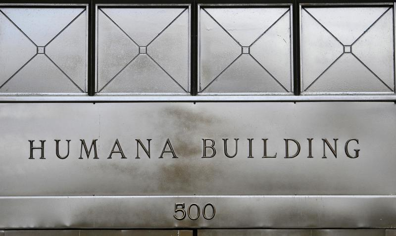 This  Monday, Aug. 8, 2011 photo, shows the entrance to the Humana building,  in Louisville, Ky.  Health insurer Humana Inc. said Monday, Nov. 5, 2012, that its third-quarter net income fell 4 percent as more premium dollars from its members went to pay for medical claims, offsetting continued growth in its lucrative Medicare Advantage business. (AP Photo/Ed Reinke, File)