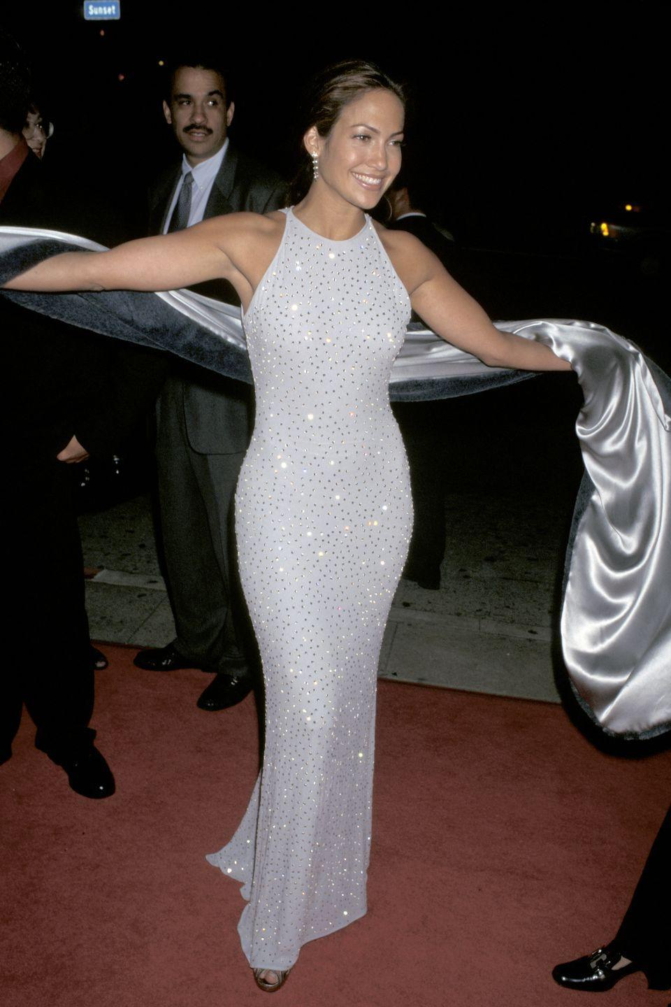 <p><strong>When: </strong>March 1997</p><p><strong>Where: </strong>Selena premiere</p><p><strong>Wearing: </strong>A crystal-embellished gown</p>