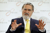 FILE - In this March 2, 2016, file photo, Rabbi Lord Jonathan Sacks speaks at a news conference announcing his winning of the 2016 Templeton Prize, in London. Sacks, the former chief rabbi in the U.K. who reached beyond the Jewish community with his regular broadcasts on radio, died at 72 on Saturday, Nov. 7, 2020, according to a statement. (AP Photo/Kirsty Wigglesworth, File)