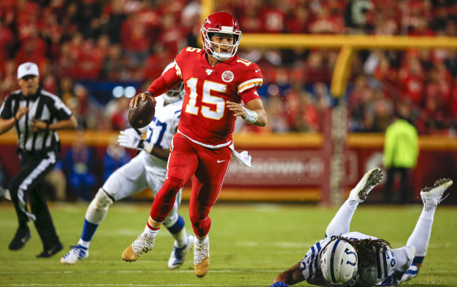 Patrick Mahomes delivered a signature play on his first prime-time appearance of 2019. (Getty)