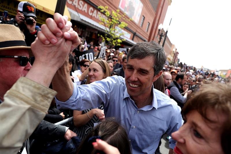 Beto O'Rourke greets supporters during a campaign rally in El Paso, Texas. | Justin Sullivan—Getty Images