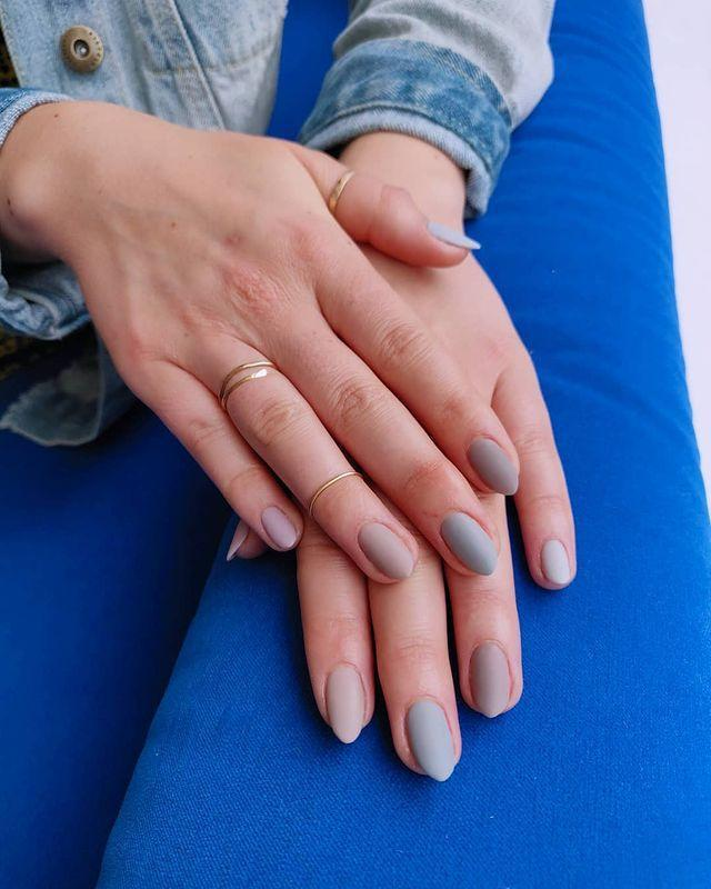 """<p>We love the trend of wearing a slightly different shade of each colour on every nail and this matte design is perfect for autumn/winter.</p><p><a href=""""https://www.instagram.com/p/BvhBNMeHc-k/"""" rel=""""nofollow noopener"""" target=""""_blank"""" data-ylk=""""slk:See the original post on Instagram"""" class=""""link rapid-noclick-resp"""">See the original post on Instagram</a></p>"""