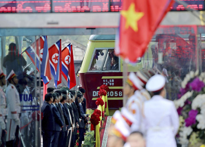 A train carrying North Korean leader Kim Jong Un arrives in Dong Dang in Vietnamese border town Tuesday, Feb. 26, 2019, ahead of his second summit with U.S. President Donald Trump. (AP Photo/Minh Hoang)