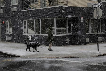 A man walks his dog during a late season snow storm in New York, U.S., March 21, 2018. REUTERS/Lucas Jackson