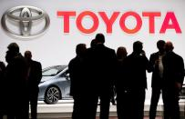 FILE PHOTO: Toyota logo displayed at the 89th Geneva International Motor Show