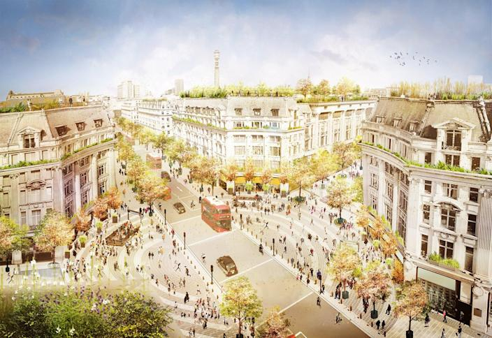 Artist impression showing future transformation of Oxford Circus with traffic continuing on Regent Street and two new piazzas on Oxford Street (Supplied)