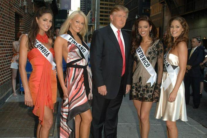 Laaksonen, Miss Finland, stands next to Trump outside the Ed Sullivan Theater in New York City on July 17, 2006. (Photo: Eddie Mejia/Splash News and Pictures)
