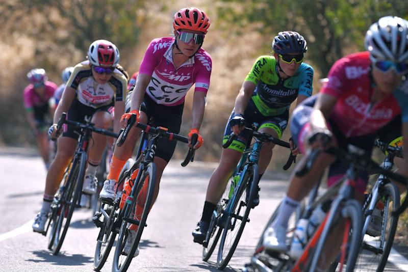 MOTTAMONTECORVINO ITALY SEPTEMBER 19 Marianne Vos of The Netherlands and Team CCC Liv Purple Points Jersey during the 31st Giro dItalia Internazionale Femminile 2020 Stage 9 a 1099km stage from Motta Montecorvino to Motta Montecorvino 645m GiroRosaIccrea GiroRosa on September 19 2020 in Motta Montecorvino Italy Photo by Luc ClaessenGetty Images