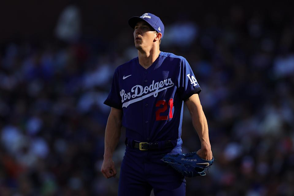 Walker Buehler looks out during the third inning against the San Francisco Giants.