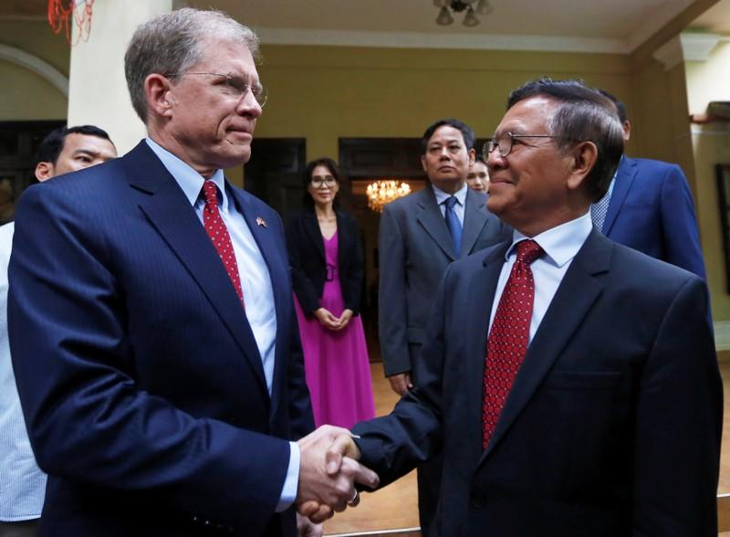 Cambodian opposition leader meets U.S., French envoys after house arrest lifted