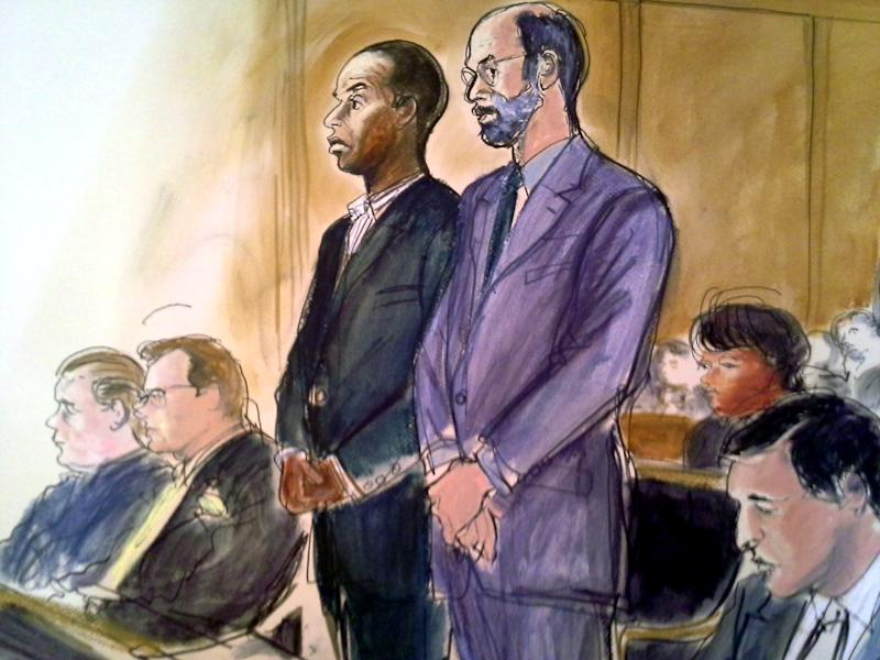 In this courtroom sketch, State Sen. Malcolm Smith, D-Queens, center left, stands in federal court next to his attorney Gerald Shargel Tuesday, April 2, 2013 in White Plains, N.Y. Smith was arrested along with five other politicians Tuesday in an alleged plot to pay tens of thousands of dollars in bribes to GOP bosses to let him run for mayor of New York City as a Republican. Clockwise from left are Bronx County Republican Party Chairman Joseph Savino; his attorney Kevin B. Faga; Smith; Shargel; Spring Valley Mayor Noramie Jasmin, and Assistant US Attorney Douglas Bloom. (AP Photo/Elizabeth Williams)