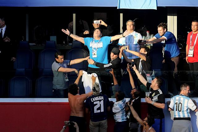 <p>Diego Maradona in the stands before the FIFA World Cup Group D match at Saint Petersburg Stadium. (Photo by Owen Humphreys/PA Images via Getty Images) </p>