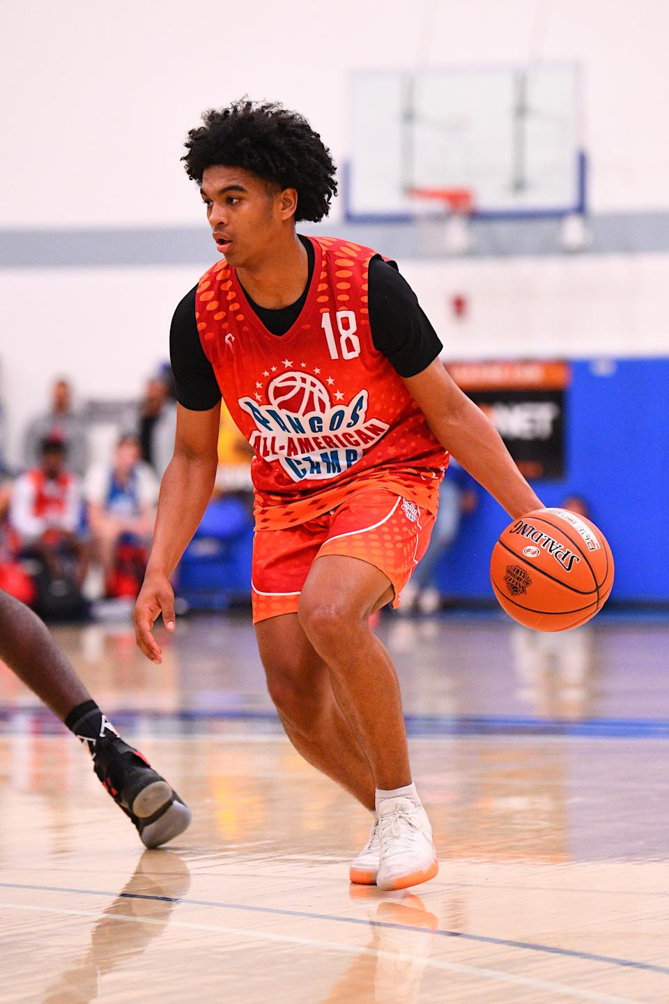 Skyy Clark from Heritage Christian dribbles up the court during the Pangos All-American Camp on June 2, 2019 at Cerritos College in Norwalk, CA. (Photo by Brian Rothmuller/Icon Sportswire via Getty Images)