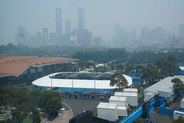 A general view of the city skyline shrouded by smoke haze from bushfires during an Australian Open practise session at Melbourne Park in Melbourne