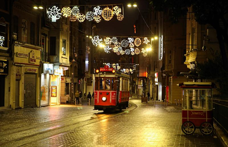 An empty tramway is seen at Istiklal Avenue just before their services are stopped within the coronavirus pandemic precautions in Istanbul, Turkey on April 5.
