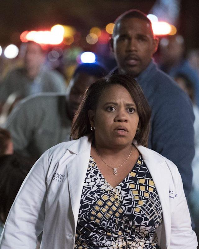 Chandra Wilson and Jason George in the May 18 Season 13 finale of ABC's 'Grey's Anatomy' (Photo: Richard Cartwright/ABC)
