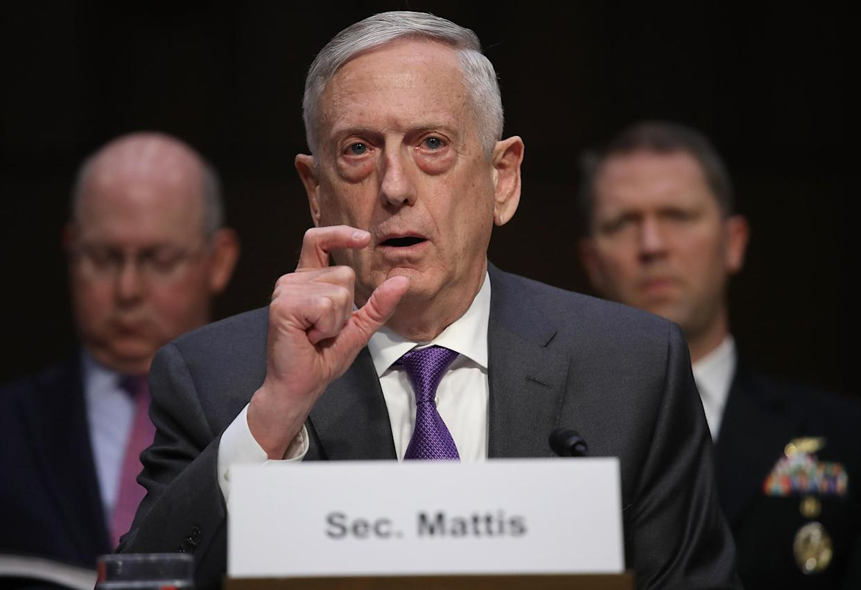 Secretary of Defense James Mattis testifiying before the Senate Armed Services Committee in April. (Photo: Win McNamee/Getty Images)