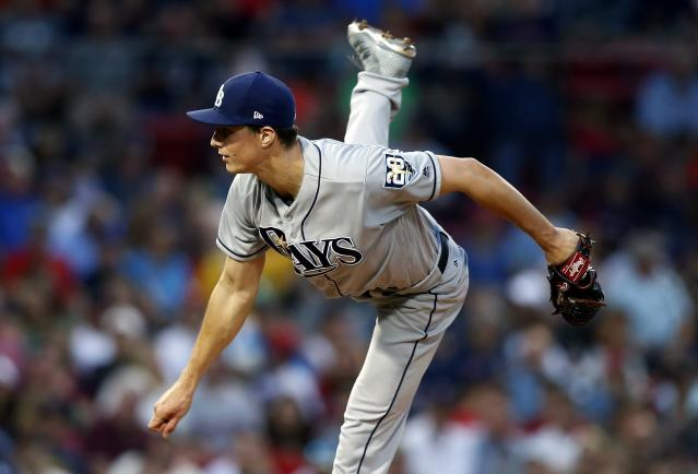 Tampa Bay Rays' Tyler Glasnow pitches during the first inning of a baseball game against the Boston Red Sox in Boston, Saturday, Aug. 18, 2018. (AP Photo/Michael Dwyer)