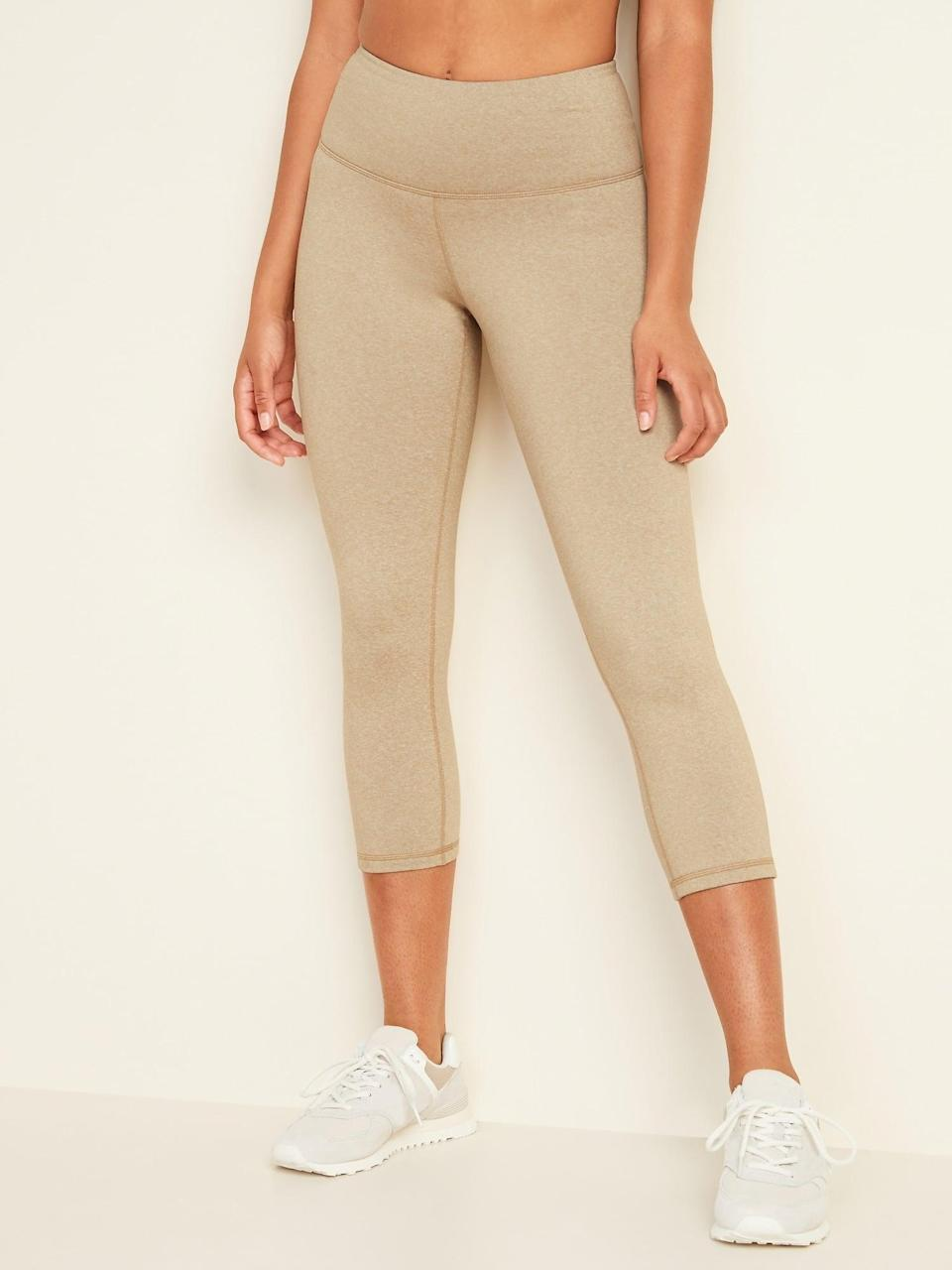 <p>The soft, compressive lining on these <span>Old Navy High-Waisted CozeCore Crop Leggings</span> ($10, originally $30) is like enveloping your legs in a hug you'll want to last long after the workout ends.</p>
