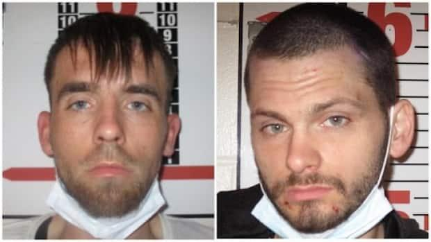 The province's Justice Department is warning of Chad Stephen Clarke, left, and Thomas Joseph Smith, who escaped the Central Nova Scotia Correctional Facility in Dartmouth, N.S., on Thursday evening. (Nova Scotia Justice Department - image credit)