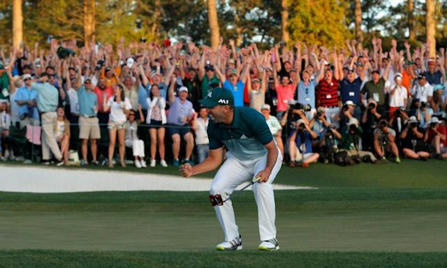 """<span class=""""element-image__caption"""">Sergio García celebrates his Masters victory on Sunday and there was no doubt who the fans around the Augusta greens wanted to win.</span> <span class=""""element-image__credit"""">Photograph: Mike Segar/Reuters</span>"""