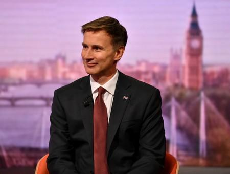 Britain's prime ministerial candidate Jeremy Hunt appears on BBC TV's The Andrew Marr Show in London