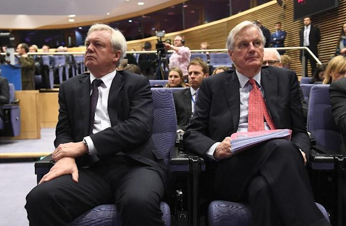 Not seeing eye to eye: The EU's chief Brexit negotiator Michel Barnier, right, with British counterpart David Davis in Brussels last month (AFP Photo/EMMANUEL DUNAND)