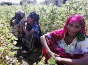 Ethiopian women, who fled the ongoing fighting in Tigray region, are seen at the al-Fashqa refugee camp in the Sudan-Ethiopia border town of al-Fashqa, in eastern Kassala state