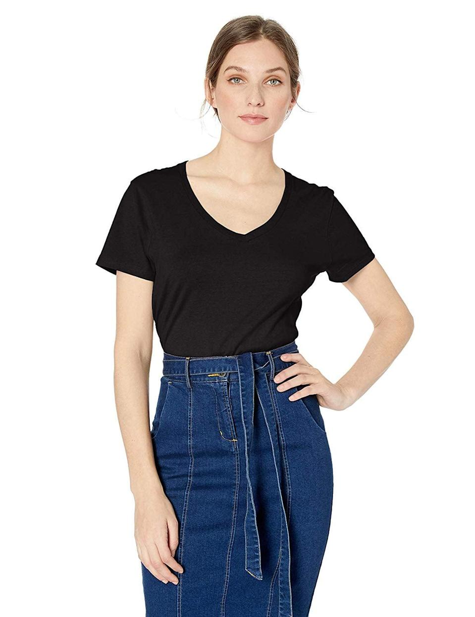 <p>You can't go wrong with this <span>Hanes Nano Premium Cotton V-Neck Tee</span> ($8).</p>