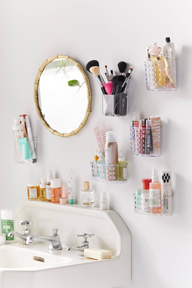 "<p>Out of shelves? Grab a couple of these <a href=""https://www.popsugar.com/buy/Acrylic-Toiletries-Wall-Pockets-460070?p_name=Acrylic%20Toiletries%20Wall%20Pockets&retailer=urbanoutfitters.com&pid=460070&price=8&evar1=casa%3Auk&evar9=45654164&evar98=https%3A%2F%2Fwww.popsugar.com%2Fhome%2Fphoto-gallery%2F45654164%2Fimage%2F46674065%2FAcrylic-Toiletries-Wall-Pocket&list1=shopping%2Corganization%2Chome%20organization%2Cbest%20of%202019&prop13=api&pdata=1"" rel=""nofollow"" data-shoppable-link=""1"" target=""_blank"" class=""ga-track"" data-ga-category=""Related"" data-ga-label=""https://www.urbanoutfitters.com/shop/acrylic-toiletries-wall-pocket?category=SEARCHRESULTS&amp;color=100"" data-ga-action=""In-Line Links"">Acrylic Toiletries Wall Pockets</a> ($8).</p>"