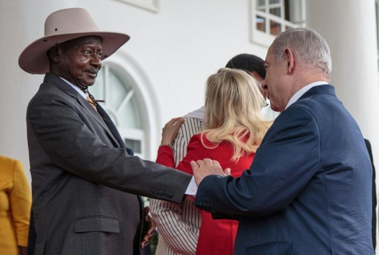 Israel has improved ties with African nations in recent years and Netanyahu called on Ugandan President Yoweri Musevni to open an embassy in the disputed city of Jerusalem (AFP Photo/SUMY SADURNI)