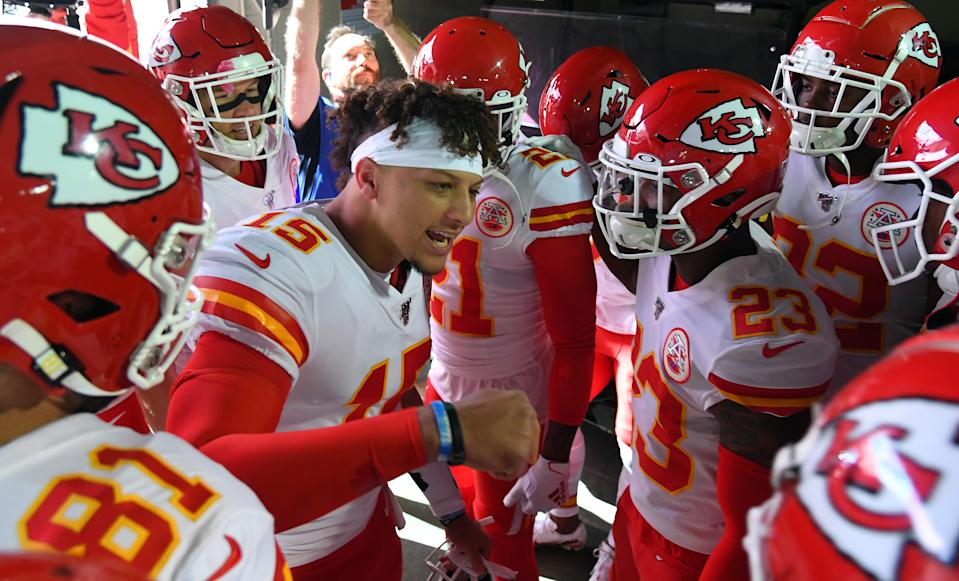 Nov 10, 2019; Nashville, TN, USA; Kansas City Chiefs quarterback Patrick Mahomes (15) talks to his team before taking the field for warmups before a game against the Tennessee Titans at Nissan Stadium. Mandatory Credit: Christopher Hanewinckel-USA TODAY Sports