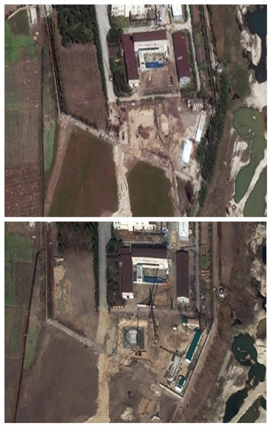 FILE - This photo combination of two file satellite images made available by DigitalGlobe shows above, the Yongbyon nuclear complex in Yongbyon, North Korea in an image taken Sept. 29, 2010, in which the Washington-based Institute for Science and International Security said showed heavy construction and excavation equipment at the site and the construction of two small buildings. The Institute for Science and International Security on Nov. 18, 2010 released a new satellite image, shown below in the photo combo, from Nov. 4 that shows a rectangular structure being built, with at least two cranes visible at the complex. It estimated North Korea was constructing a 25 to 30 megawatt light-water reactor. North Korean scientists have mastered domestic production of essential components for the gas centrifuges needed to build uranium-based nuclear bombs, apparently shutting down one of the few ways outsiders could monitor secretive atomic work, according to evidence gathered by two American experts, The Associated Press reports Monday, Sept. 23, 2013.. (AP Photo/DigitalGlobe, File)