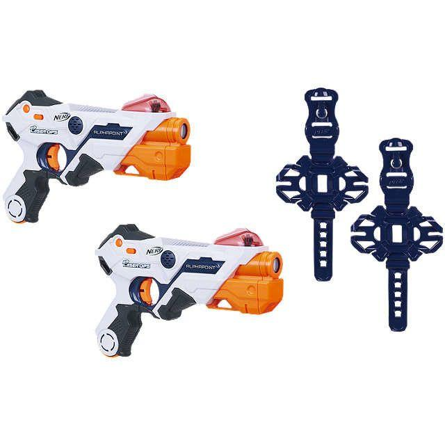 The latest in the Nerf guns, where you can play head-to-head battles. Each blaster fires single-shot bursts and they register with lights and sounds. <br />Price:£29.99 - £49.99