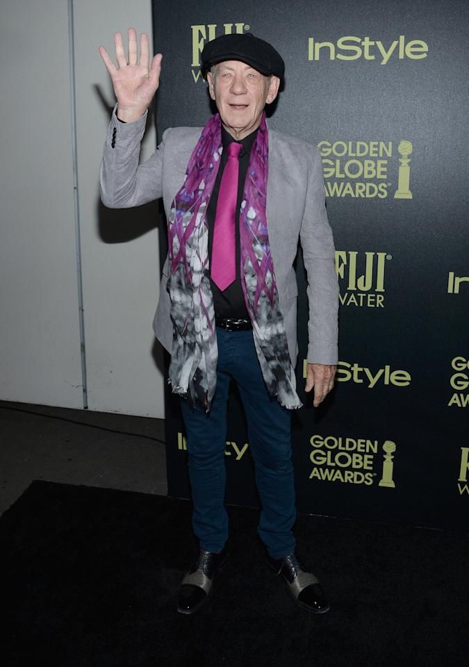 Make them formal: This is just another reason why you should always listen to Gandalf. The man knows exactly what he's doing. Sir Ian McKellen showed up for a black-tie event in his daily jeans and pulled them off. He paired them with a printed shirt and scarf and a blazer jacket for the look. We'd suggest you lose the scarf when you try the look, because lets be honest nobody but McKellen can pull that off, but a blazer jacket and dark blue or black jeans are the perfect combination.