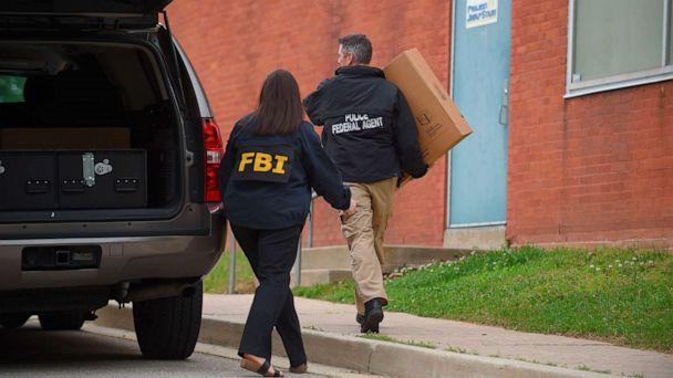 PHOTO: Federal agents arrive at the Maryland Center for Adult Training in Baltimore, Md., April 25, 2019. Agents with the FBI and IRS are gathering evidence inside the two homes of Baltimore Mayor Catherine Pugh and other locations related to the mayor. (Lloyd Fox/Baltimore Sun via AP)