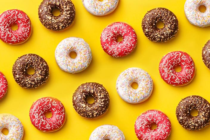 """<p>When you eat a meal that lacks enough protein, you're more likely to feel unsatisfied and reach for sugary, fatty foods. Natalie Jill, the lead trainer for <a href=""""https://www.amazon.com/Preventions-After-Toned-Amazing-Minutes/dp/163565338X?tag=syn-yahoo-20&ascsubtag=%5Bartid%7C2139.g.37190884%5Bsrc%7Cyahoo-us"""" rel=""""nofollow noopener"""" target=""""_blank"""" data-ylk=""""slk:Fit After 40"""" class=""""link rapid-noclick-resp""""><em>Fit After 40</em></a>, says, """"Protein balances things out, stops cravings, and keeps us full longer."""" Be sure to consume enough protein at every meal to keep your sweet tooth in check. Some lean protein choices include wild-caught fish, sirloin steak, ground turkey, and chicken breasts. </p>"""