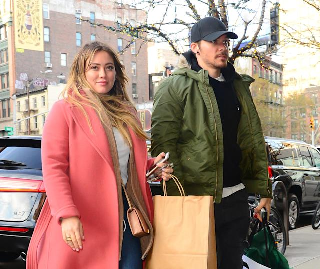 Hilary Duff and her boyfriend, Matthew Koma, in New York City. (Photo: Raymond Hall/GC Images)