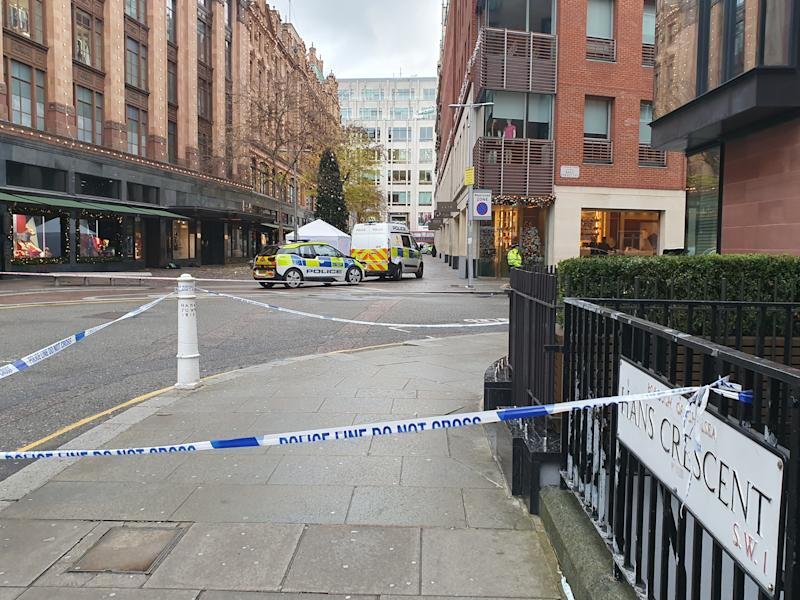 The scene in Knightsbridge, where a murder investigation has begun after a man was knifed to death near Harrods department store in a suspected robbery, as he made his way home from a nearby restaurant.
