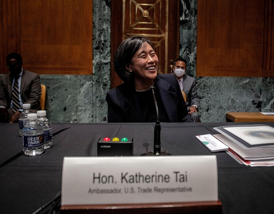 US Trade Representative Katherine Tai pictured at a Senate Appropriations hearing in April 2021 (Getty Images)